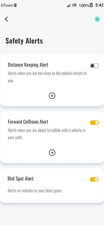 ride vision mobile app alert screen